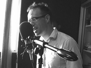 David Wartnaby on microhone, recording in Kampala