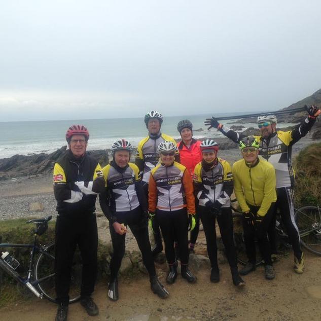 Group One enjoying Mullion and some Cornish weather