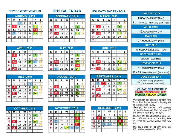 2019 Calendar - Holidays  Pay Periods.jp