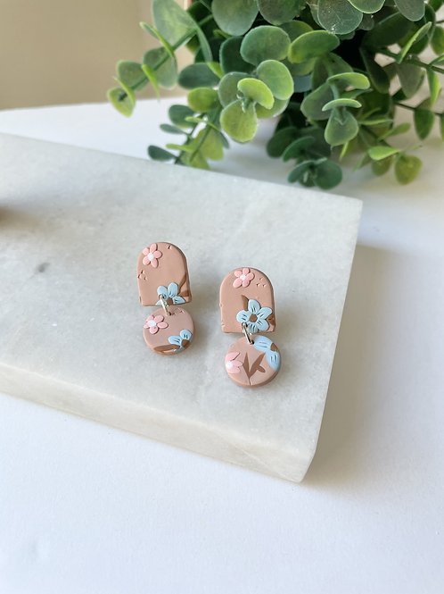 floral clay earring