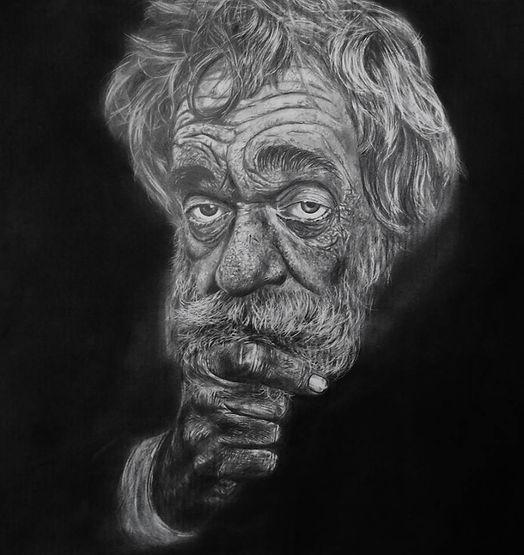 Vieil homme de la rue, Dessin Noir et Blanc, Avignon, France, Atelier de sculpture Romel