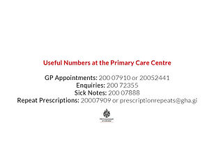 Covid Tab - Primary Care Centre numbers.