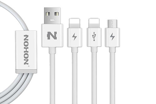 Nohon 3-in-1 USB to Micro USB & Type-C & Lightning Cable (1m)