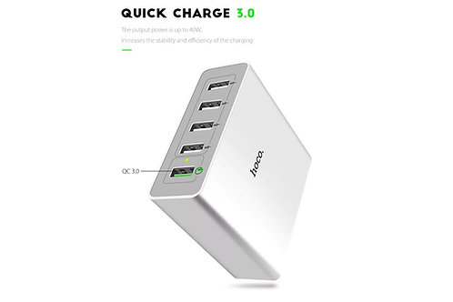 Hoco C18A 5-Port USB Super Five Desktop Charger with QC3.0 Charging