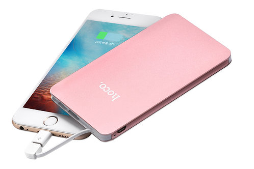 Hoco B13 Card-Type 5000mAh Power Bank with Built-In Charging Cable + Lightning