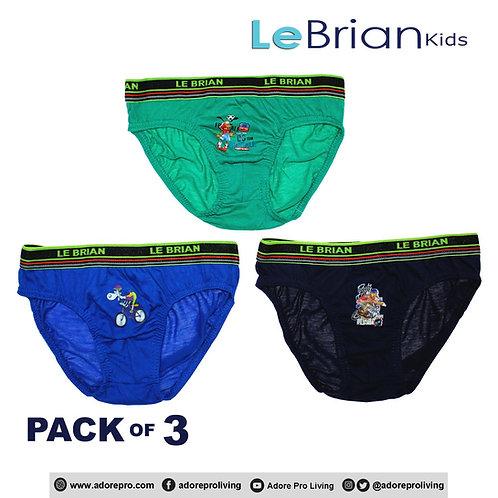 Kids 3-in-1 Cotton Hipster Brief Design # 615