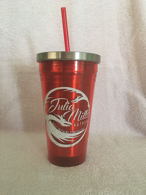 16oz Red Hot/Cold Tumbler with Straw