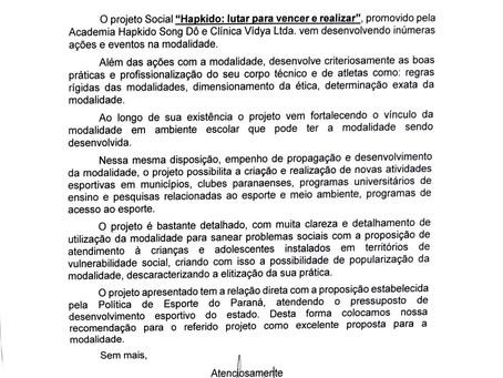 Projeto Social Lutar para Vencer e Realizar conquista carta de apoio do Governo do Estado do Paraná