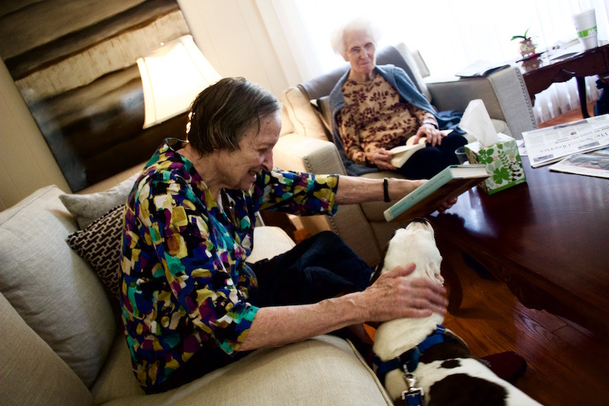 August residents receive warm affection from our therapy animal, Princess Yuki Starlight.