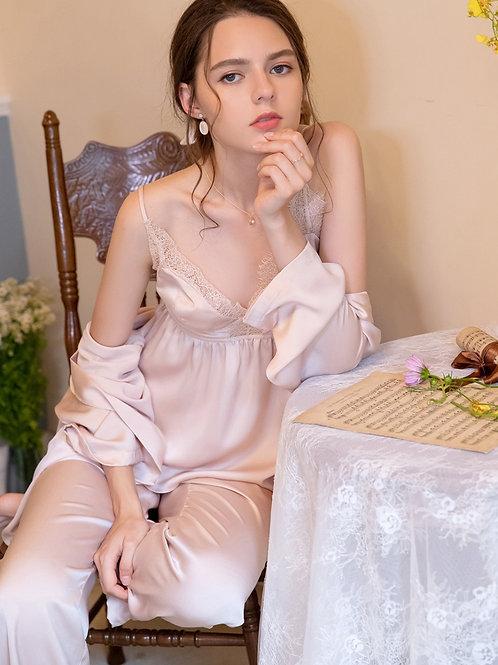 3 Pieces Pyjamas Women Lace Pajamas Sets