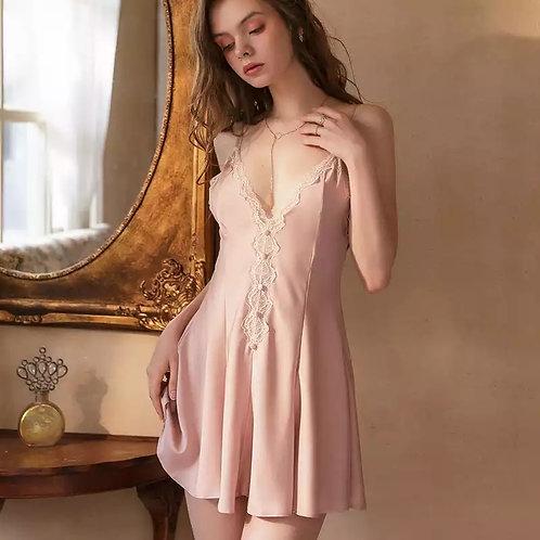 Sweet Lace Sleepwear Female Satin Nightgown