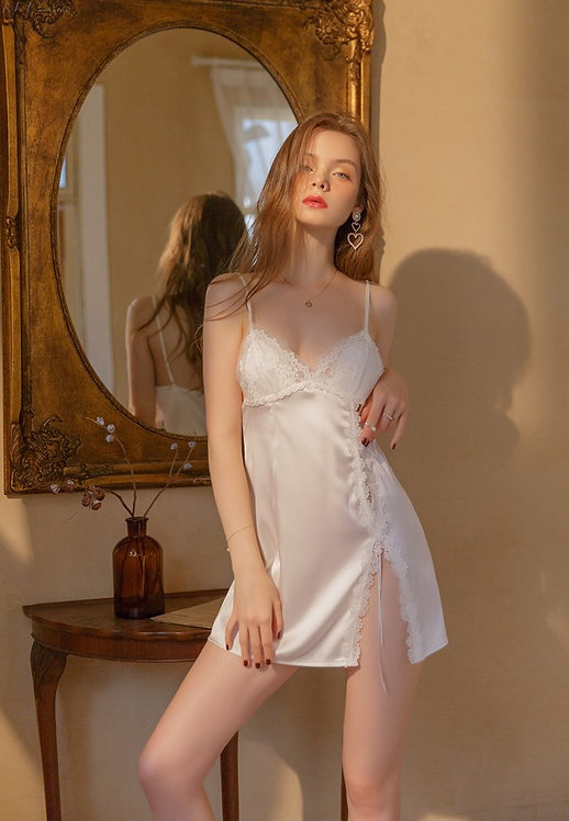 Sexy Lingerie Flower Nightdress Side Lace Pajamas