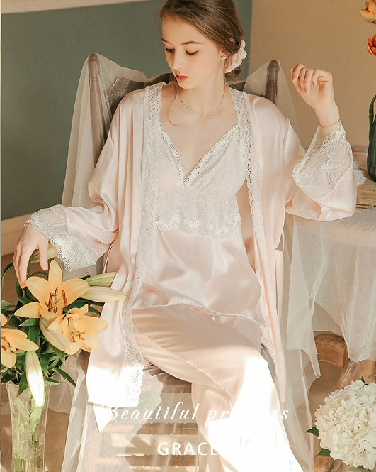Satin Pajamas Suit Ladies Sleepwear