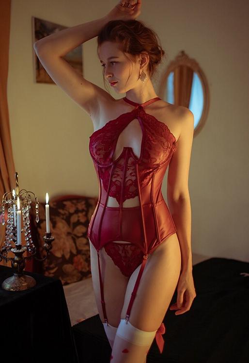 body shape split suit set waist corset