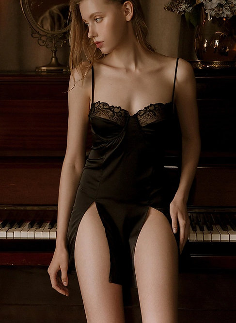 Sexy Lingerie Set Silk Nightgown