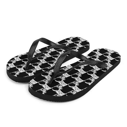 Black Spaceman Flip-Flops