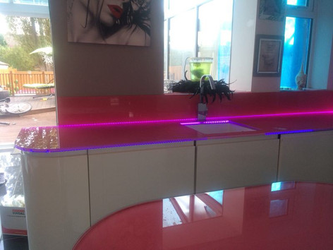 Pink worktops and splashback