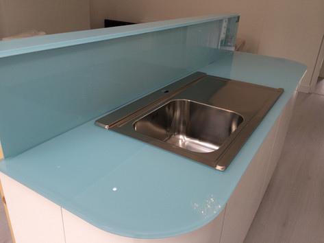 Blue worktop and splashbacks