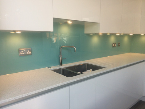 Light blue splashback