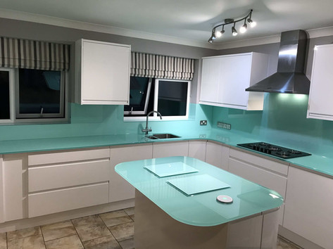 Blue splashbacks, worktops, window sils and worktop protectors