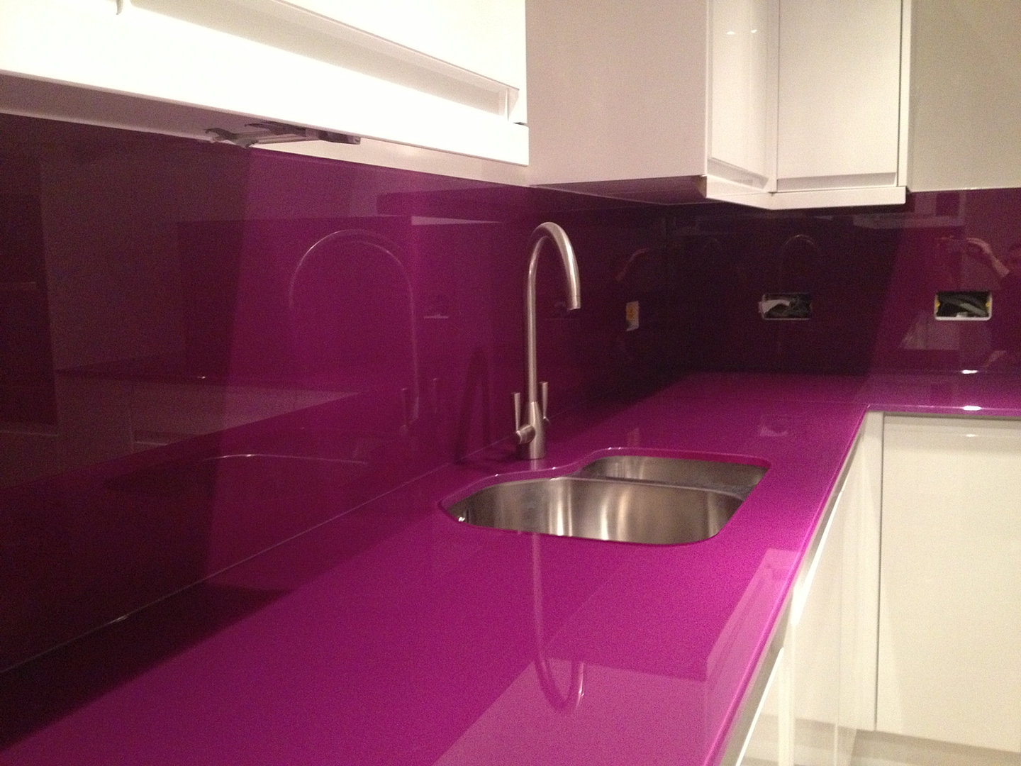 Glass splashbacks for bathroom sinks - Luxglass Splashback Purple