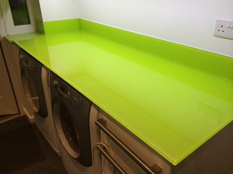 Lime green worktop and upstands