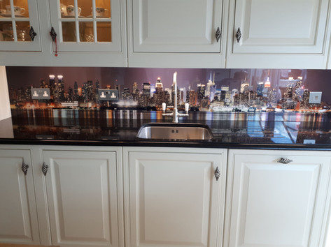 City skyline print splashback