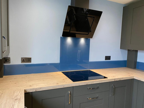 Colour match blue splashback and upstands