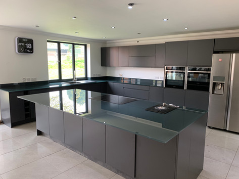Grey worktops and upstands