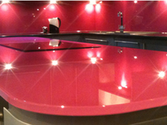Pink worktop and splashbacks