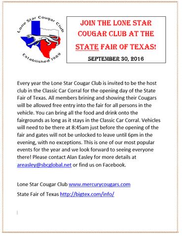 Lone Star Cougar Club at Texas State Fair on Sep. 30th