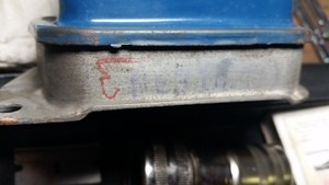original stamp and chalk mark on autolie voltage regulator