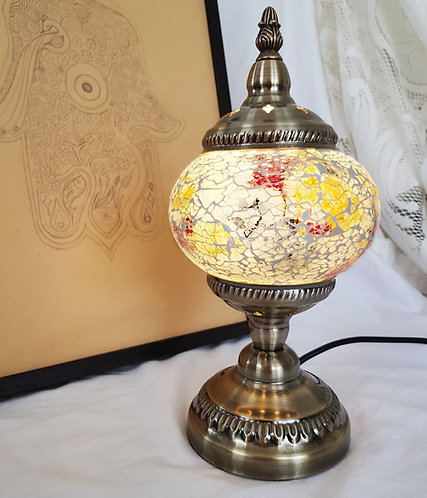 White Crackle Small Stand Lamp