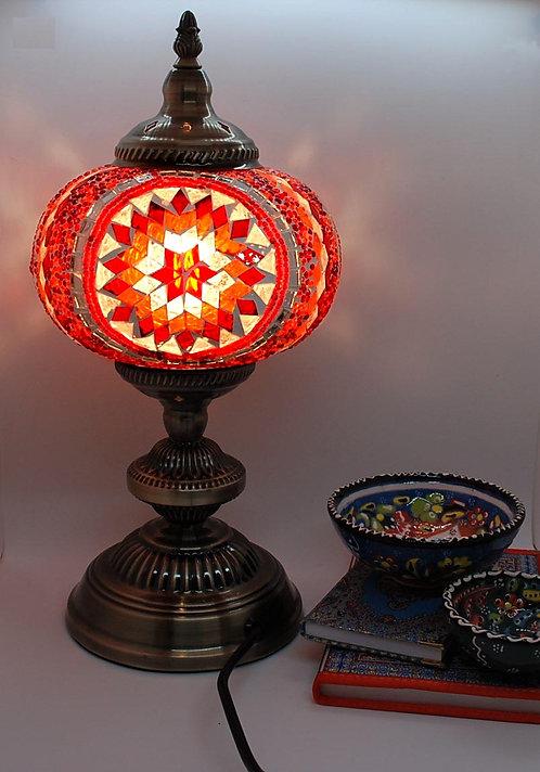 Turkish Morrocan Mosaic Large Stand Lamp Orange Red
