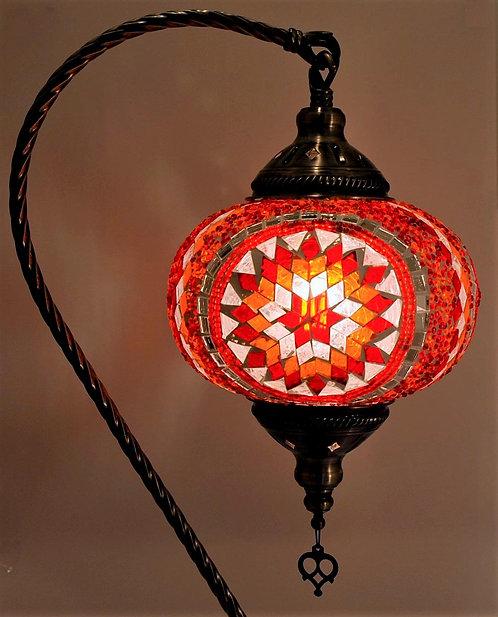 XL Multi Orange Star Mosaic Swan Necked Lamp