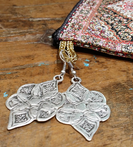 Ottoman Pewter Earrings and Jewellery Bag