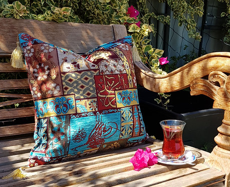 Ottoman Patchwork Design Cushion Cover