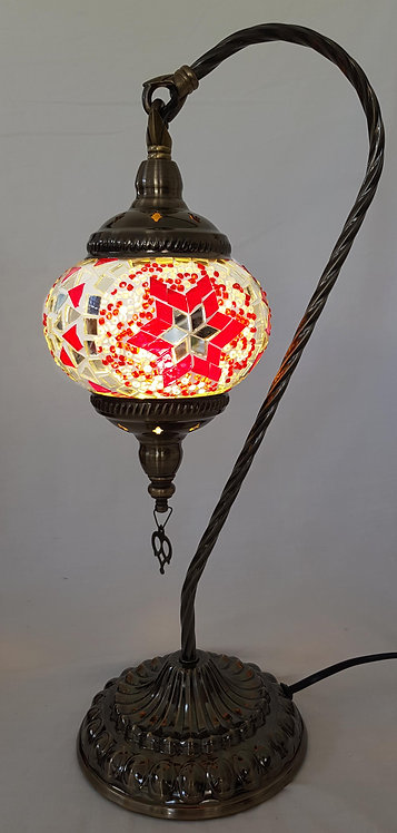 Red Mosaic Swan Necked Lamp