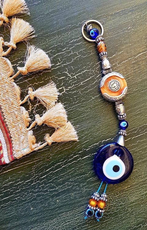 Medium Orange Afgan Bead Lucky Eye