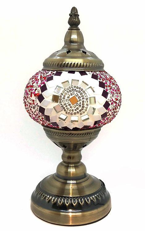 Pink White Star Mosaic 13cm Stand Lamp