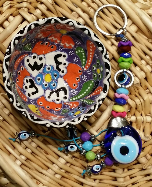 Hand Painted5cm Bowl and Lucky Eye Keyring