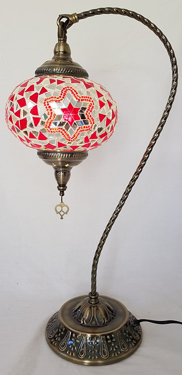 XL Red Mosaic Swan Necked Lamp
