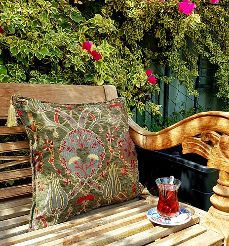 Lale Cushion Cover Forest Green