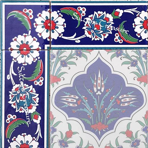 """Border Tile 20x10cm """"White Rose"""""""