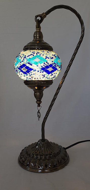 Blue Diamond Mosaic Swan Necked Lamp