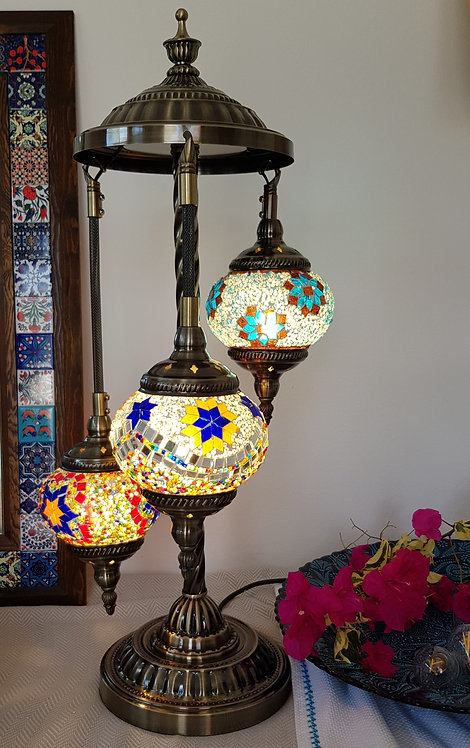 3 Hanging Chandelier Mixed Mosaic Lamp Turkish Style