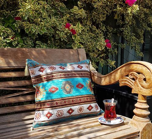 Kilim Design Cushion Cover Aqua/Turquoise