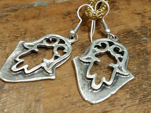 Ottoman Pewter Hamsa Earrings and Jewellery Bag
