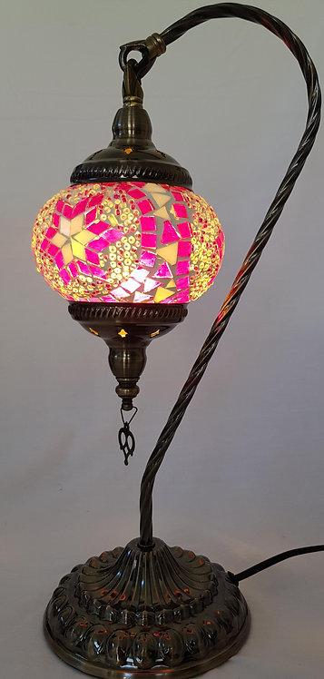 Pink Mosaic Swan Necked Lamp