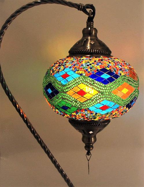XL Multi Coloured Mosaic Swan Necked Lamp
